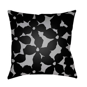 Moody Floral Medium Gray and Black 20 x 20-Inch Pillow