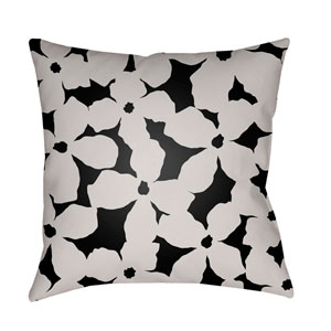 Moody Floral Ivory and Black 22 x 22-Inch Pillow