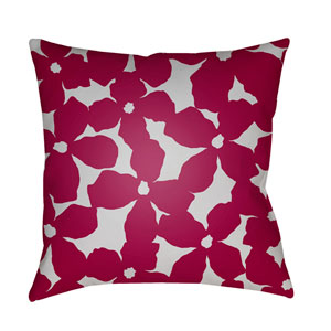 Moody Floral Dark Red and Light Gray 22 x 22-Inch Pillow