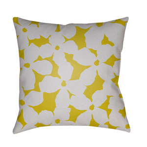 Moody Floral Light Gray and Lime 18 x 18-Inch Pillow