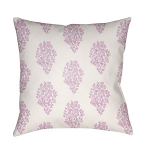 Moody Floral Lilac and Bright Pink 22 x 22-Inch Pillow