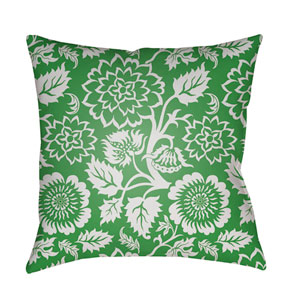 Moody Floral White and Grass Green 22 x 22-Inch Pillow