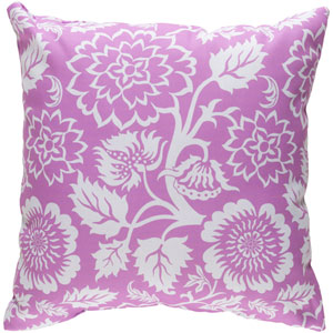Moody Floral White and Bright Purple 22 x 22-Inch Pillow