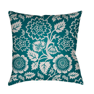 Moody Floral Ivory and Teal 22 x 22-Inch Pillow