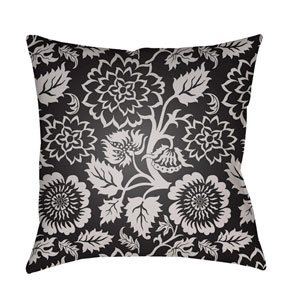 Moody Floral Light Gray and Black 22 x 22-Inch Pillow