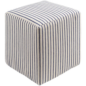 Milford Cream and Navy Pouf