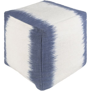 Milford Denim and White Pouf