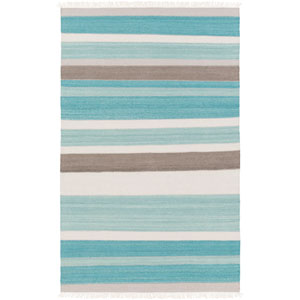 Miguel Teal and Light Gray Rectangular: 2 Ft x 3 Ft Rug
