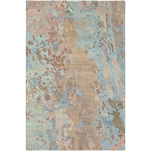 Modern Nouveau Blue and Tan Rectangular: 8 Ft. x 10 Ft. Rug