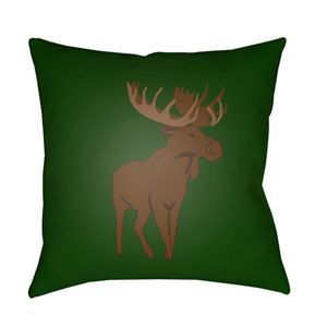Moose Green and Brown 18 x 18-Inch Throw Pillow