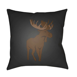 Moose Gray and Brown 18 x 18-Inch Throw Pillow