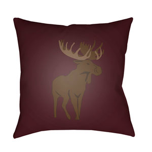 Moose Red and Brown 18 x 18-Inch Throw Pillow