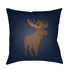 Moose Blue and Brown 18 x 18-Inch Throw Pillow