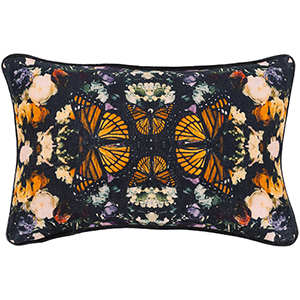 Metamorphosis Black and Bright Orange 13 x 19 In. Pillow with Polyester Insert