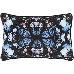 Metamorphosis Black and Bright Blue 13 x 19 In. Pillow with Down Insert