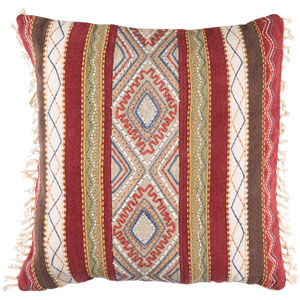 Marrakech Brown and Red 30-Inch Pillow Cover