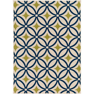 Marina Navy and Moss Rectangular: 5 Ft 3 In x 7 Ft 3 In Rug