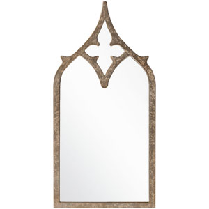 Harlan Weathered Pewter Decorative Arched and Crowned Mirror