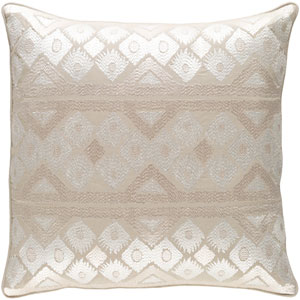 Morowa Khaki and Cream 18 x 18 In. Throw Pillow