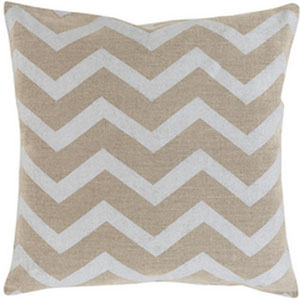 Metallic Stamped Light Gray and Beige 22-Inch Pillow with Poly Fill
