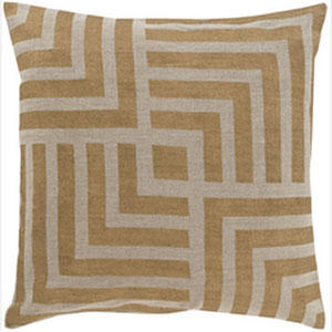 Metallic Stamped Gold and Beige 22-Inch Pillow with Poly Fill