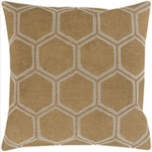 Metallic Stamped Gold and Beige 18-Inch Pillow with Poly Fill