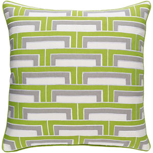Mod Steps Lime and Ivory 20-Inch Pillow with Down Fill