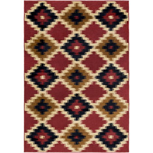 Mountain Home Red and Black Rectangular: 1 Ft. 11-Inch x 3 Ft. 3-Inch Rug