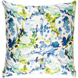 Naida Neutral and Blue 20-Inch Pillow Cover