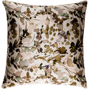 Naida Neutral and Brown 20-Inch Pillow with Down Fill