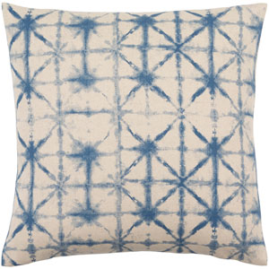 Nebula Cobalt and Beige 18-Inch Pillow with Poly Fill