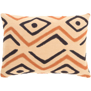 Nairobi Neutral and Orange 13-Inch x 19-Inch Pillow Cover
