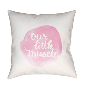 Miracle Pink and White 18 x 18-Inch Throw Pillow