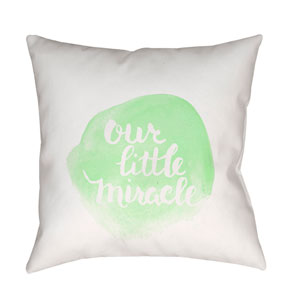Miracle Green and White 18 x 18-Inch Throw Pillow