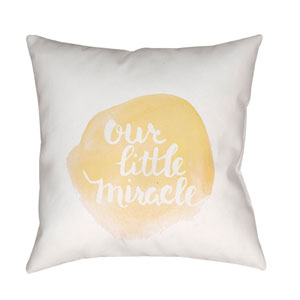 Miracle Yellow and White 18 x 18-Inch Throw Pillow