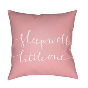 Little One Pink and White 18 x 18-Inch Throw Pillow