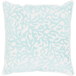 Osprey White and Aqua 22 x 22 In. Throw Pillow Cover