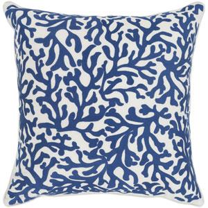 Osprey Dark Blue and Cream 22 x 22 In. Throw Pillow