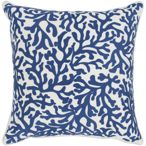 Osprey Dark Blue and Cream 22 x 22 In. Throw Pillow