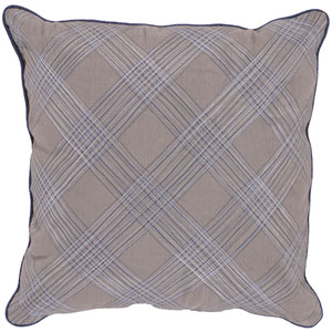 Gray 18 x 18 Pillow with Blue and White Stripes