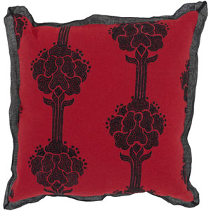 Red 18 x 18 Pillow with Black Detail