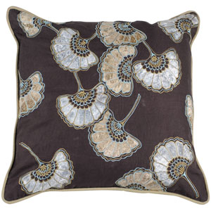 Brown Floral 18 x 18 Pillow w/ Down Fill