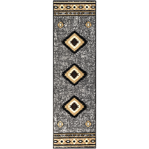 Paramount Charcoal and Tan Runner: 2 Ft. 2 In. x 7 Ft. 6 In. Rug