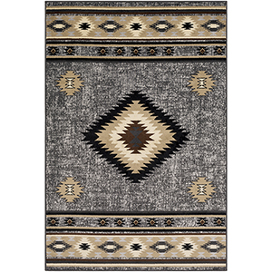Paramount Charcoal and Tan Rectangular: 6 Ft. 7 In. x 9 Ft. 6 In. Rug