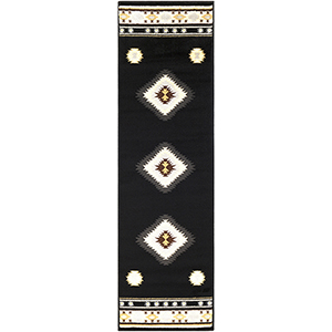 Paramount Black and Cream Runner: 2 Ft. 2 In. x 7 Ft. 6 In. Rug