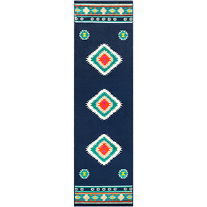 Paramount Navy and Aqua Runner: 2 Ft. 2 In. x 7 Ft. 6 In. Rug