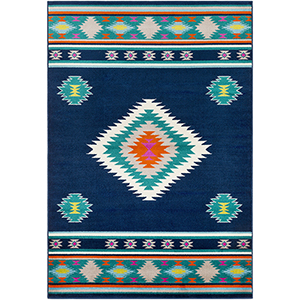 Paramount Navy and Aqua Rectangular: 6 Ft. 7 In. x 9 Ft. 6 In. Rug
