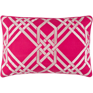 Pagoda Hot Pink and Ivory 13 x 20-Inch Pillow with Down Fill