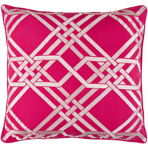 Pagoda Ivory and Hot Pink 20-Inch Pillow with Down Fill