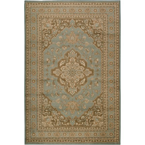 Paramount Aqua Brown and Beige Rectangular: 5 ft. 3 in. x 7 ft. 6 in. Rug